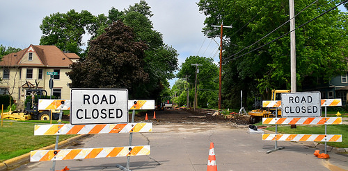 'Road Closed' -- 10th Ave and Park St. Grinnell (IA) June 1018